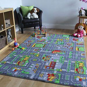 Grey Rug Children s Rugs Town Road Map City Rug Play Village Mat xcm eBay