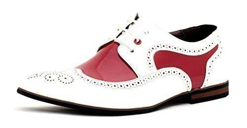 Uomo Abito Scarpe Da Matrimonio Elegante Da Ufficio elegante Pizzo Su Lavoro misura UK - Uomo, Bianco/Rosso, 10 UK / 44 EU