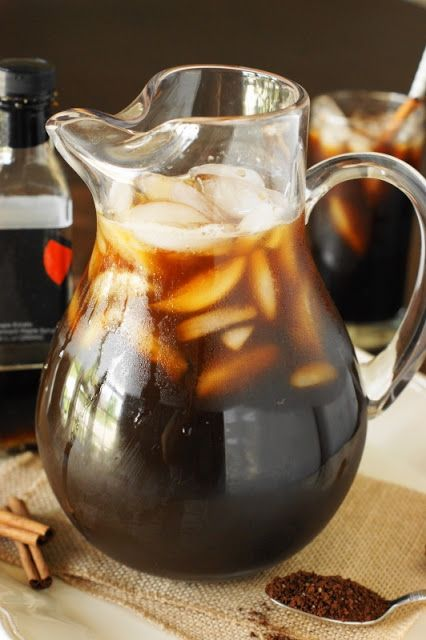 Maple Iced Coffee {by the Pitcher or the Glass} ~ Rather than making plain iced coffee, how about some totally maple-icious Maple Iced Coffee instead?  It's the perfect extra-special sipper, easy to whip up by the glass for yourself or by the pitcher for sharing!  #recipe #Folgers #sponsored  www.thekitchenismyplayground.com