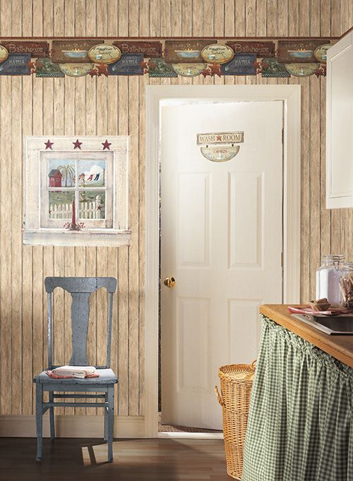 Wallpaper Borders For Country Bathrooms | Country Bathroom Border With Faux  Wood Plank Wallpaper.