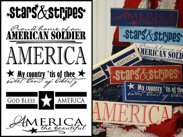 Patriotic Vinyl Ideas ~ Get vinyl supplies at http://cricketvinylsupplies.com