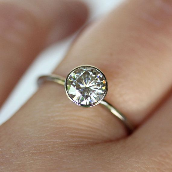 6mm Moissanite 14K White Gold Engagement Ring, Stacking Ring - Made To Order