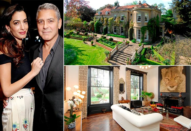 George and Amal Cloone bought this $20 Million, Berkshire mansion in London in 2014. The 9 bedroom house includes a home cinema with 12 seats, a 60 ft.  pool, pool house, an all-weather tennis court, nanny's quarters, subterranean irrigation system and an outdoor playground.