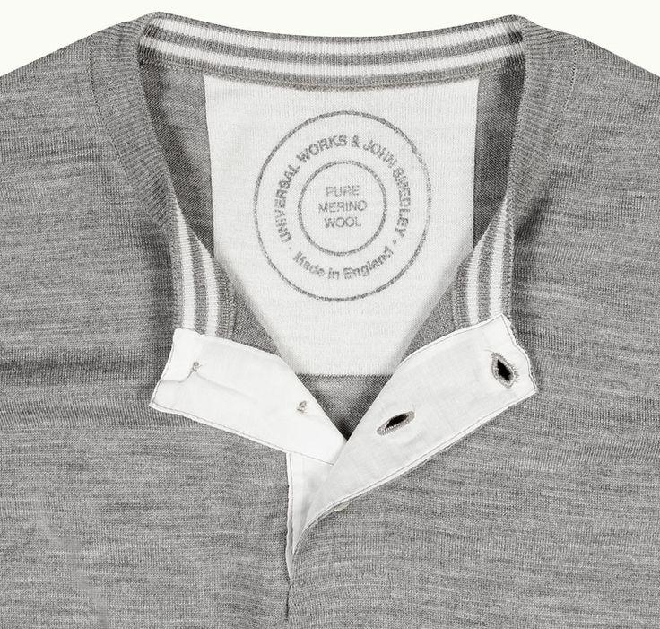 UW X JS Shirt In Silver John Smedley X Universal Works- the best of luxury British menswear.