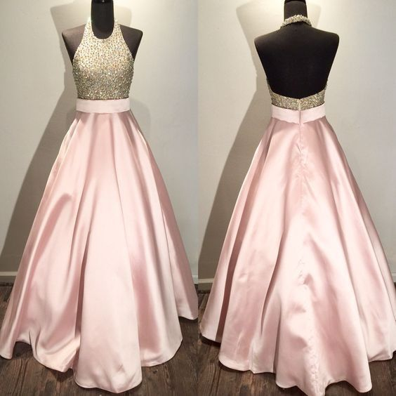 Halter Pink Open Back Beaded Top Long Prom Dresses, PM0015
