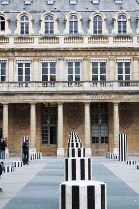 everything looks chic in paris—including these stripe podiums. (december 2013.)