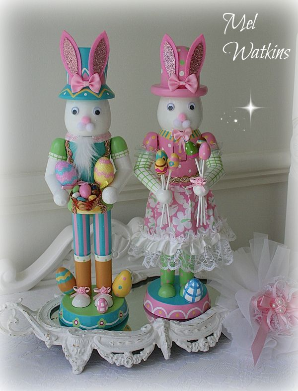 Pastel Easter bunny nutcrackers - For Sale -