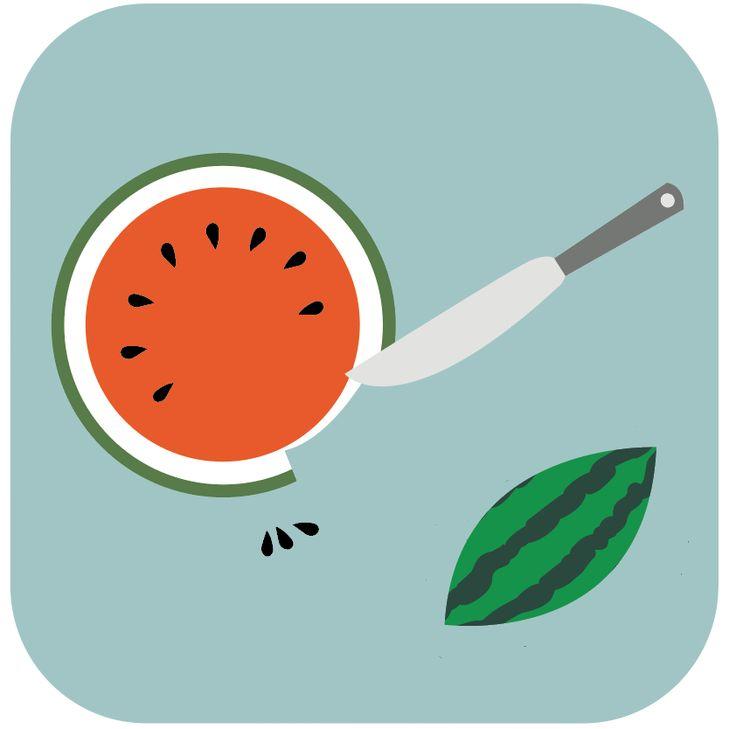 STAP 2: Pitten uit de watermeloen doen en schil er afhalen