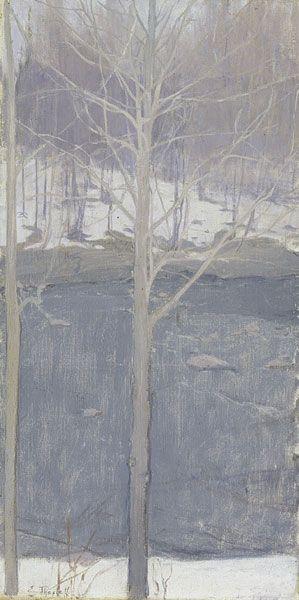 Aspens, 1893  Ellen Thesleff  Finnish, 1869-1954  Oil on canvas, 54.5 x 27.5 cm  Ateneum Art Museum