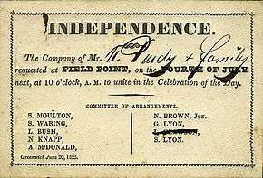 Independence Day (United States) An 1825 invitation to an Independence Day celebration https://en.wikipedia.org/wiki/Independence_Day_(United_States)