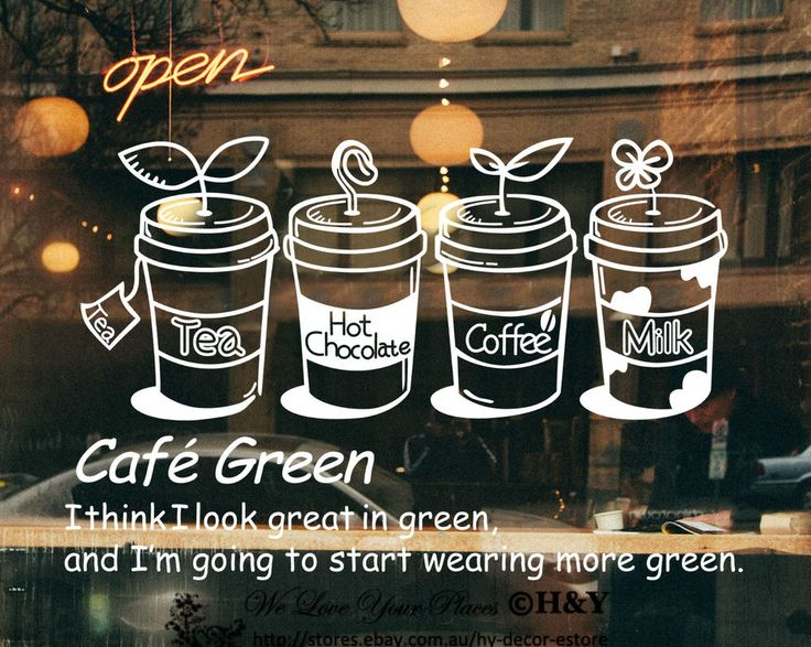 Cake Coffee Cafe Tea Shop Window Sign Stickers Wall Decal Vinyl Decor Art Mural in Business, Shop Equipment, Signs | eBay!