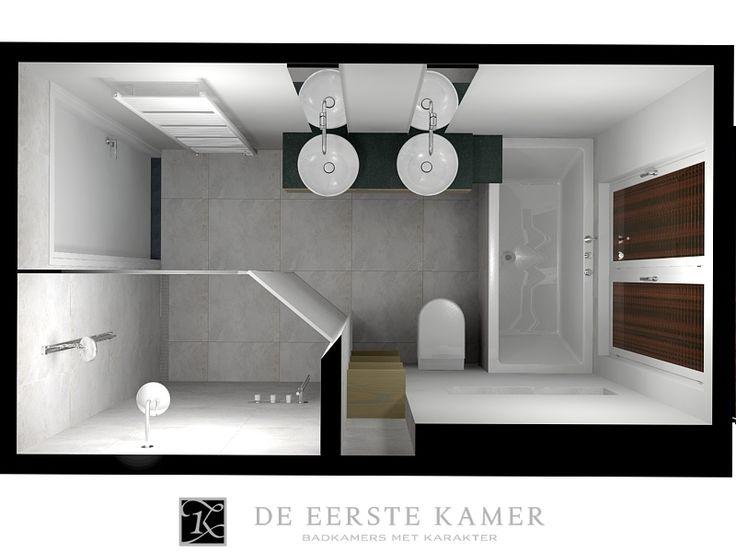 (De Eerste Kamer) We zien een compleet ingerichte badkamer met een op maat gemaakte douche. Er is veel bewegingsruimte in het centrum van de badkamer. Meer inspiratie vindt u op www.eerstekamerbadkamers.nl