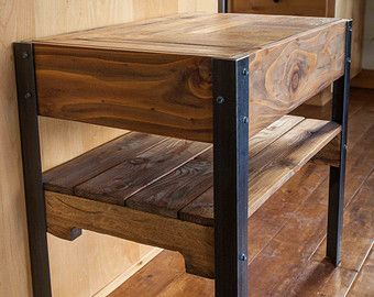Pallet Wood Tiered Desk with Drawer by woodandwiredesigns on Etsy
