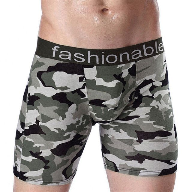 Fashion Quality Camouflage Long Leg Men Boxer Shorts Sexy Man underwear Homewear Brand Boxer Cueca Calzoncillos Hombre Plus Size