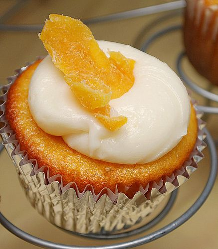 Mango Cupcake with Cream Cheese Frosting- even I would eat cake if it was mango cake!