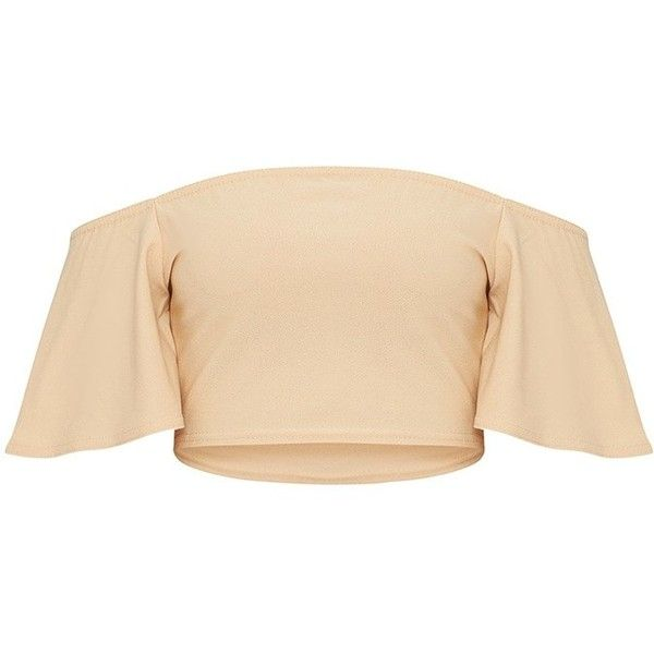 Petite Stone Frill Sleeve Bardot Crop Top ($15) ❤ liked on Polyvore featuring tops, ruffle sleeve top, beige top, cut-out crop tops, flutter sleeve top and crop tops