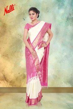Half-White with light pink border Kanchipuram Silk Saree