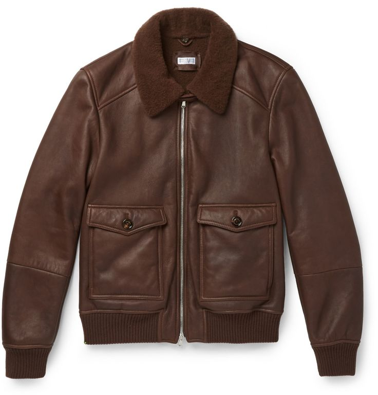 Brunello Cucinelli - Shearling-Lined Leather Bomber Jacket | MR PORTER