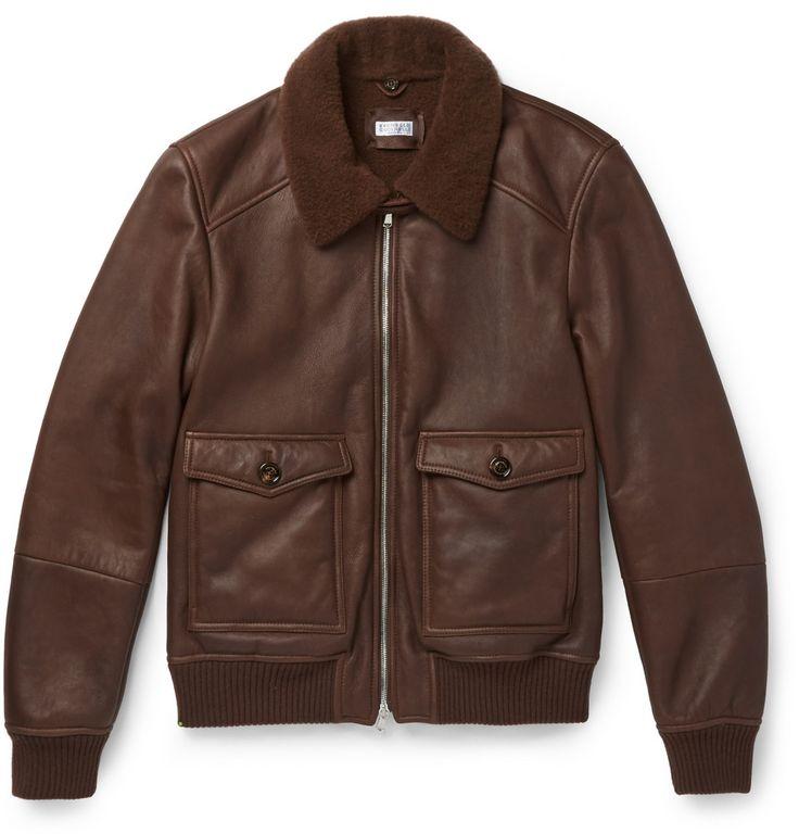 Brunello Cucinelli - Shearling-Lined Leather Bomber Jacket|MR PORTER