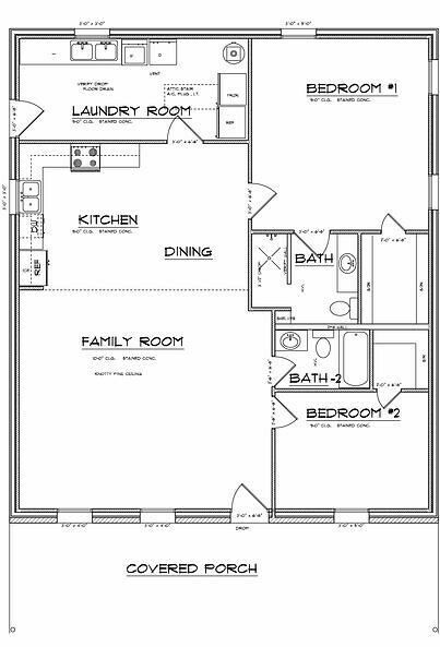 Bedroom #2 would be study/office. Rearrange the kitchen and add a counter extension between it and the family room.