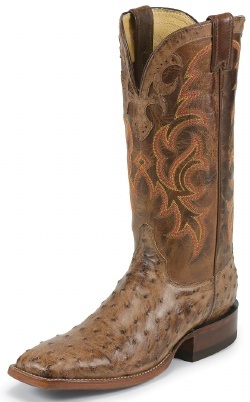 Justin Mens Cowboy Boots Antique Brown Vintage Full Quill Ostrich