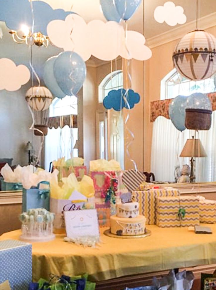 Cute Party Set Up. Find This Pin And More On Hot Air Balloons And Elephants Baby  Shower ...