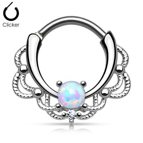 Nasenpiercing Ring Septum Clicker Tribal mit Opal