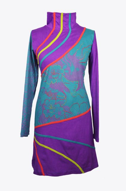 WOMEN FULL SLEEVE HI-NECK DRESS WITH EMBROIDERY - KAMAL ( 1020 )
