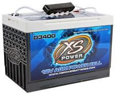 XS Power D3400 3300 Amp AGM Power Cell Car Audio Battery + Terminal Hardware