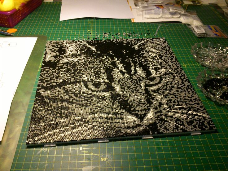 My cat Stribe, made out of hama mini Pearls, i could not get it done, because the Pearls were to small.