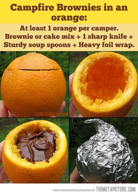 Campfire brownies! Place brownie batter into the hollowed oranges, put the top back on, cover tightly with foil, and place in banked coals for roughly 35 minutes. Orange-infused brownies on the go!