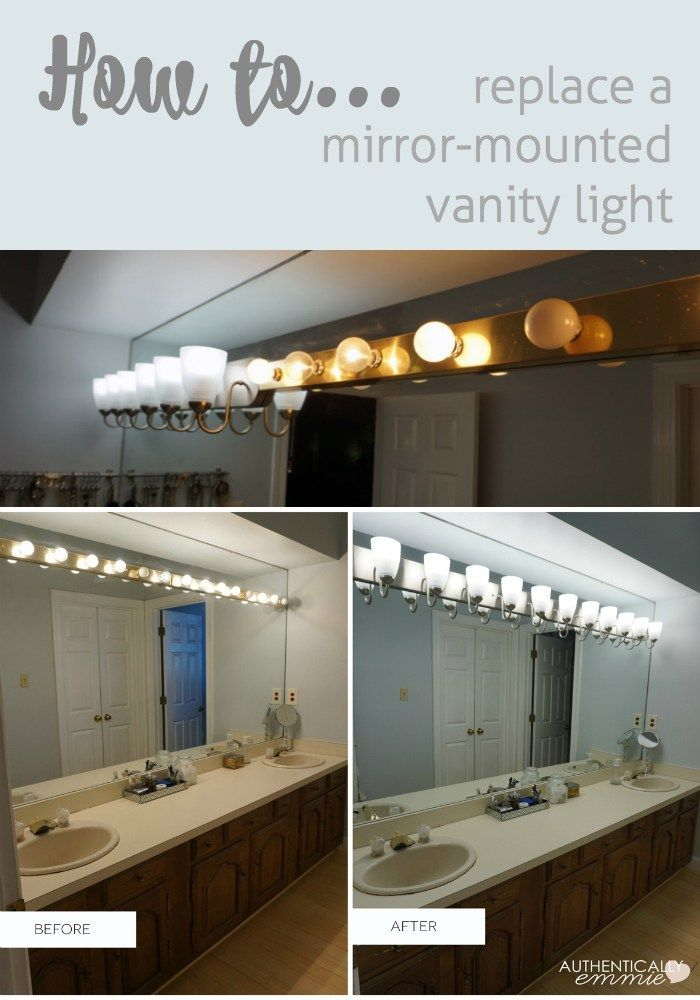 Replacing A Light Fixture On A Vanity Mirror Modern Master Bathroom Bathroom Light Fixtures Farmhouse Master Bathroom