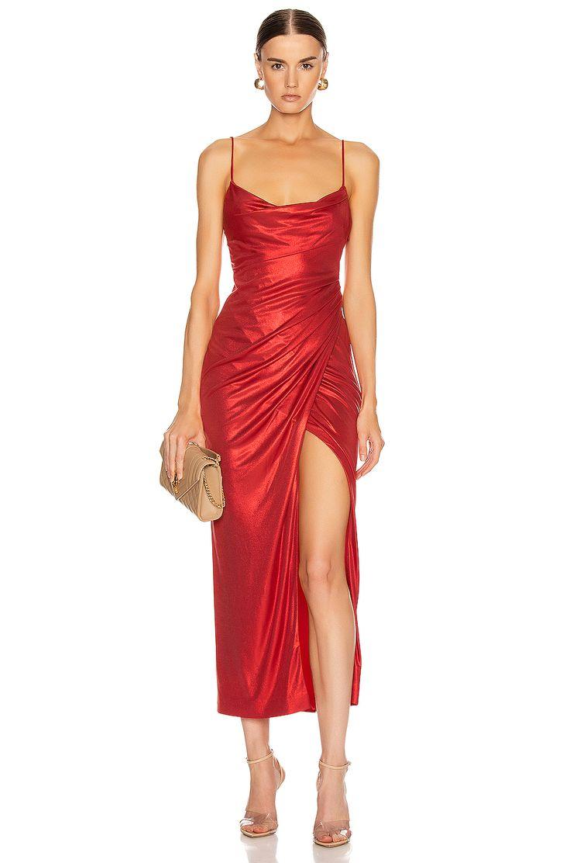 GALVAN Mars Kleid in Metallic Rot | FWRD