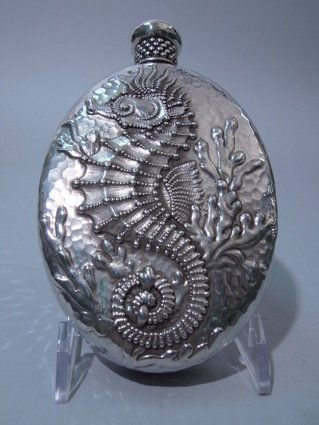 Antique Tiffany Sterling Silver Flask with Seahorse