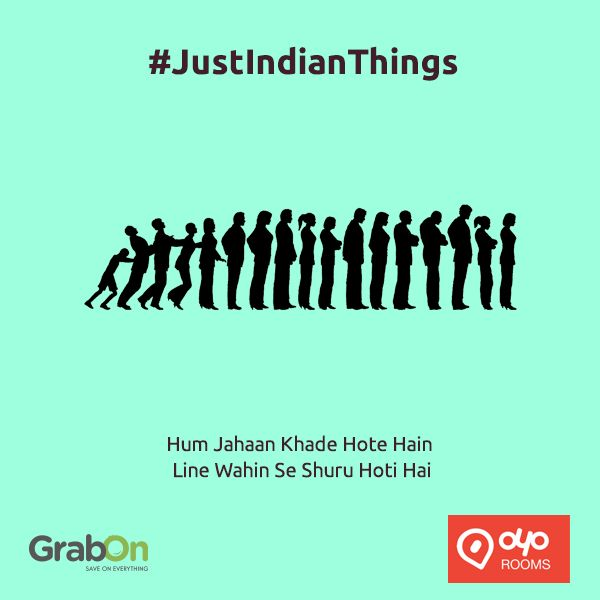 "What are ""Typical Indian Things""? Saving a rupee on chocolate or asking for the free shampoo sachet.  Today we decided to list few such things and want you to share more such ""Just Indian Things"" you do. And we will give you free coupons to save more on hotel bookings: http://www.grabon.in/oyorooms-coupons/ #JustIndianThings‬"