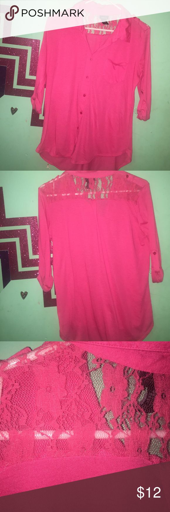 Rue 21 half sleeve shirt Hot pink half sleeve shirt. Button up. Good condition. 100% Polyester. Only see through on top shoulders. Rue 21 Tops Button Down Shirts