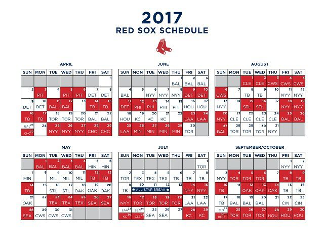 Red Sox 2017 schedule