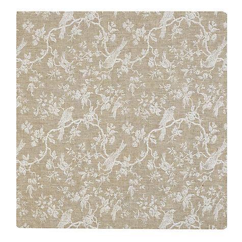 Buy John Lewis Botanica Bird Fabric, White Online at johnlewis.com