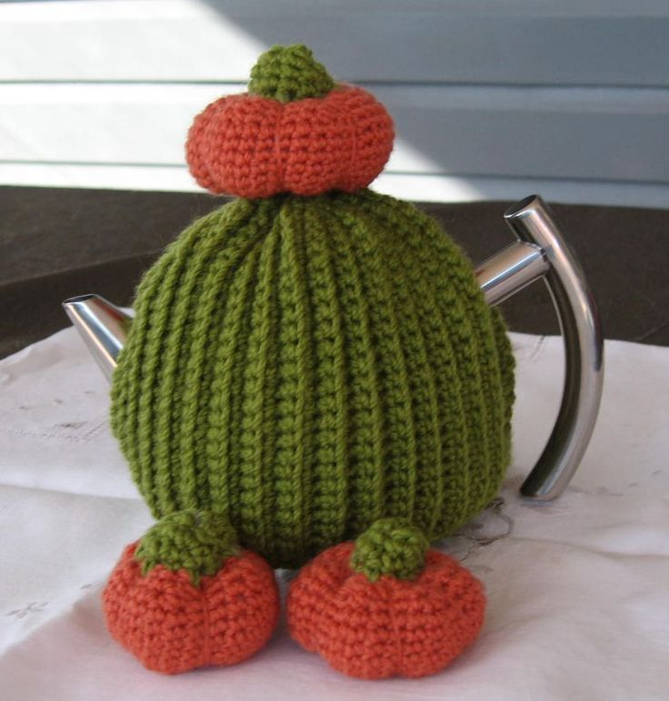 Crochet ribbed tea cosy with pumpkin topper made from all Australian wool.