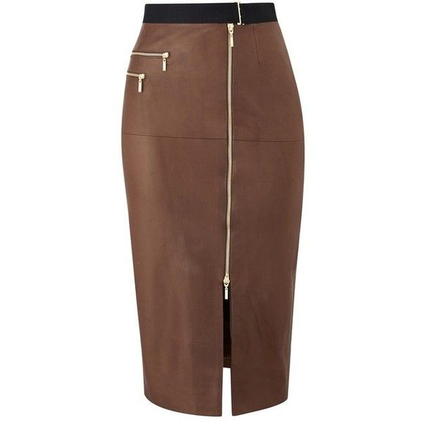 Amanda Wakeley North Shore Tan Leather Skirt ($1,120) ❤ liked on Polyvore featuring skirts, brown, midi, sexy pencil skirt, fitted pencil skirt, leather midi skirt, mid calf pencil skirts and leather pencil skirt