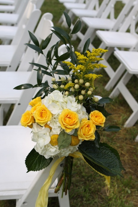 Our Wedding Aisle Chair Bouquets - whimsical yellow & white