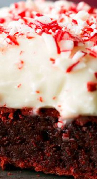 Red Velvet Peppermint Brownies with Peppermint Cream Cheese Frosting