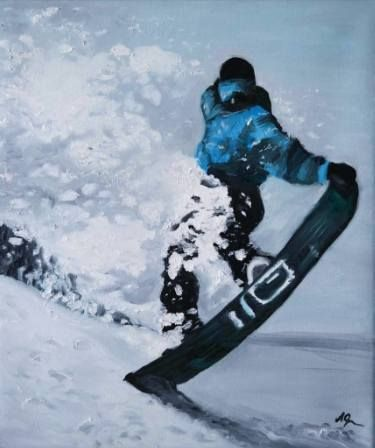 "Saatchi Art Artist Andreea Oprisan; Painting, ""Snowboarder"" #art #snowboard #painting"