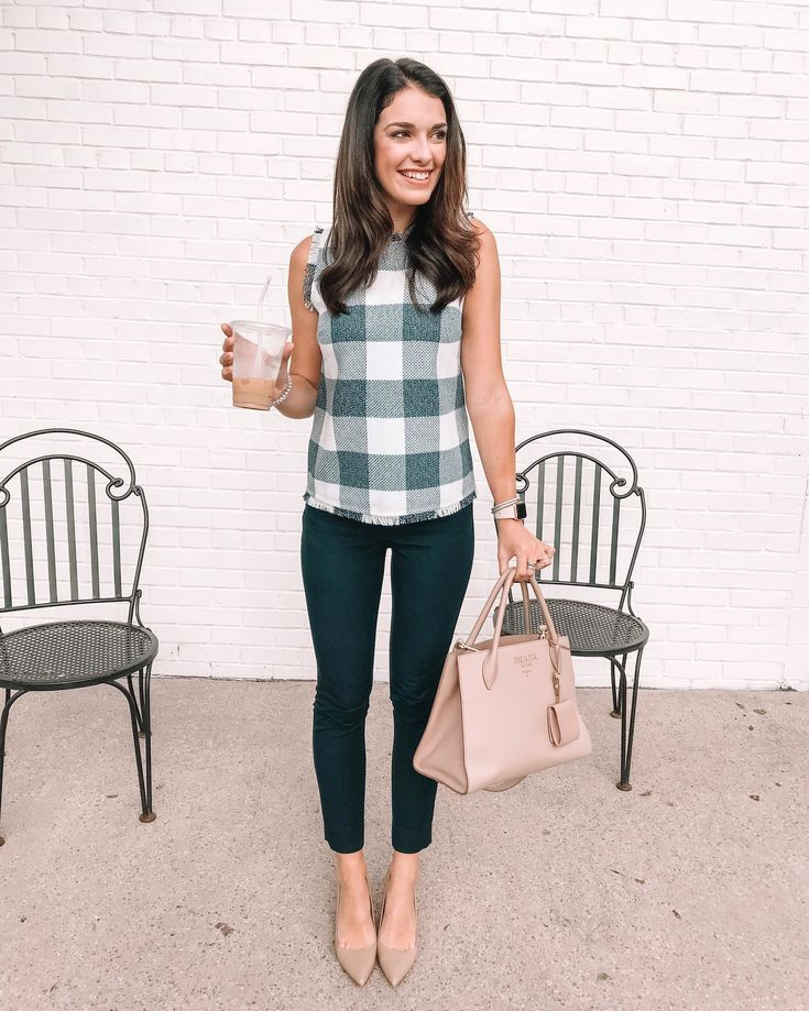 Banana republic, OOTD, outfit inspiration, work attire, work outfits, work clothes, gingham, checkered top, summer outfits, summer style, summer outfits,