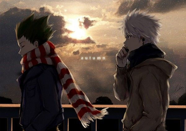 Tags: Anime, Sunset, Winter, Snowing, Hunter x Hunter, Killua Zoldyck, Gon Freaks