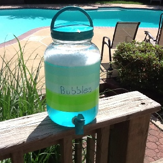 Homemade bubbles:  combine 12 cups water, 1 cup dawn liquid soap and 1 tablespoon vegetable oil.  Stir gently.  Put all of this in a $5.00 container from Target/Walmart.  Inexpensive and spill proof!  Give the kids Dixie cups with all your extra wands from previous bubble jars.  Enjoy!  Amy