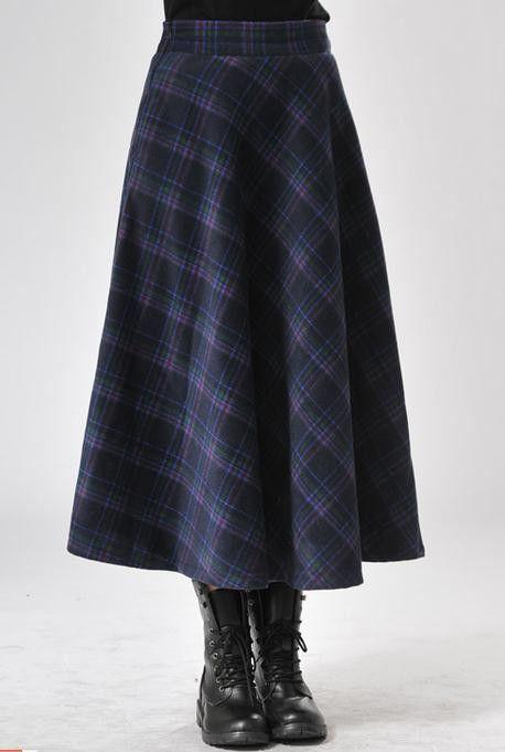 2016 Autumn and winter retro Plaid Long Skirts Women Fashion Pleated Skirt