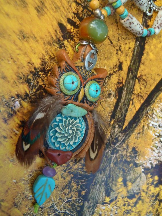 TRIBAL bohemian OWL CHARM necklace feathers suede hand made
