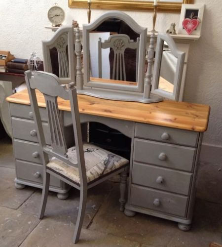 Shabby-Chic-Vintage-Solid-Pine-Dressing-Table-Chest-Of-Drawers-Desk-Chair