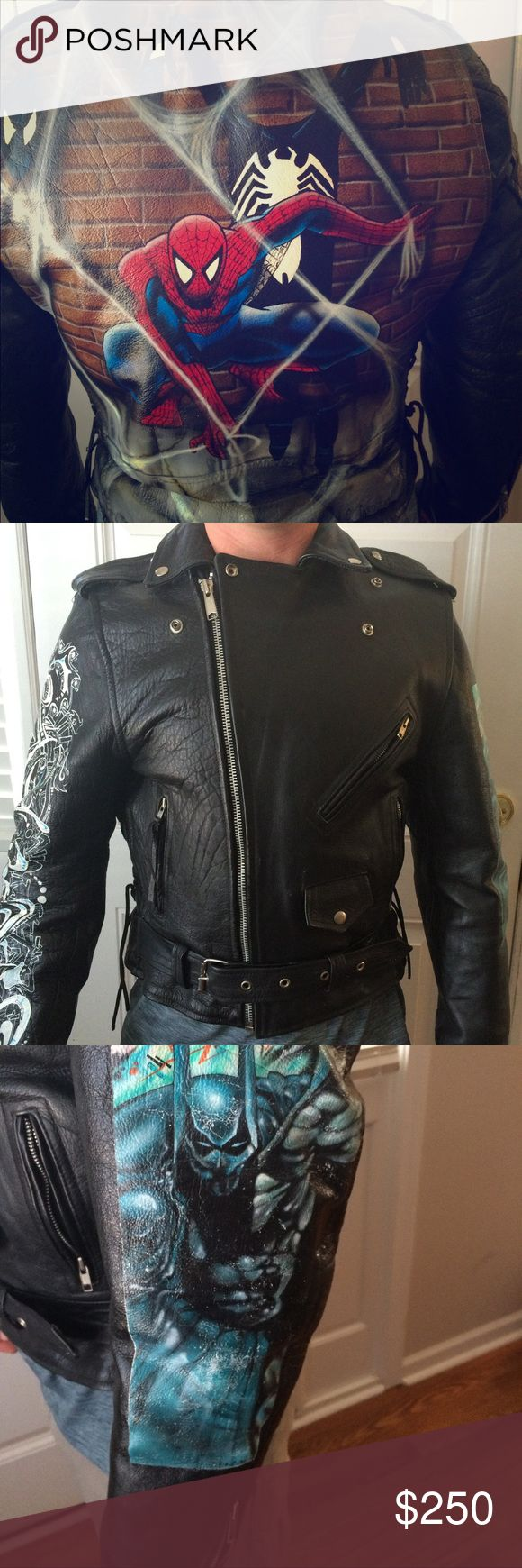 """Unique Handpainted Spiderman Batman Leather Jacket One of a kind, black, 100% leather biker jacket with graffiti style paintings.  The back contains an image of Spiderman, one arm an image of Batman, and the other arm is tagged with the word """"Paris"""". Probably a size medium, unfortunately no label with the size. . No record of the history, at least 15 years old, purchased in Europe, like new.  Features two inside pockets, lining, snap button collar, four front pockets, lace-up sides, and a…"""